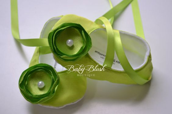 Lime Green Baby Shoes Soft Ballerina by babyblushboutique on Etsy