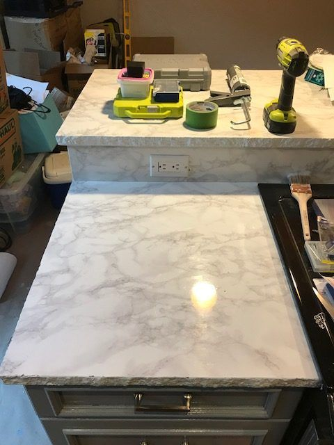 Ez Faux Decor Instant Diamond White Marble Countertop Granite Film Self Adhesive Vinyl Laminate Counter Top Peel And Stick Not Contact Paper Or Paint In 2020 White Marble Countertops Marble Vinyl