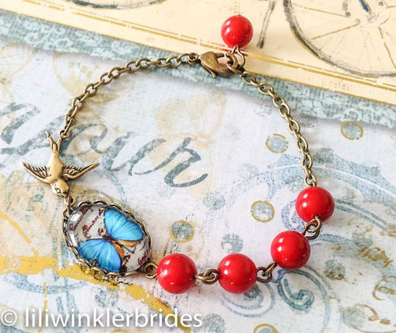 Butterfly Bird Bracelet Vintage Cabochon by Liliwinklerbrides2, $15.99