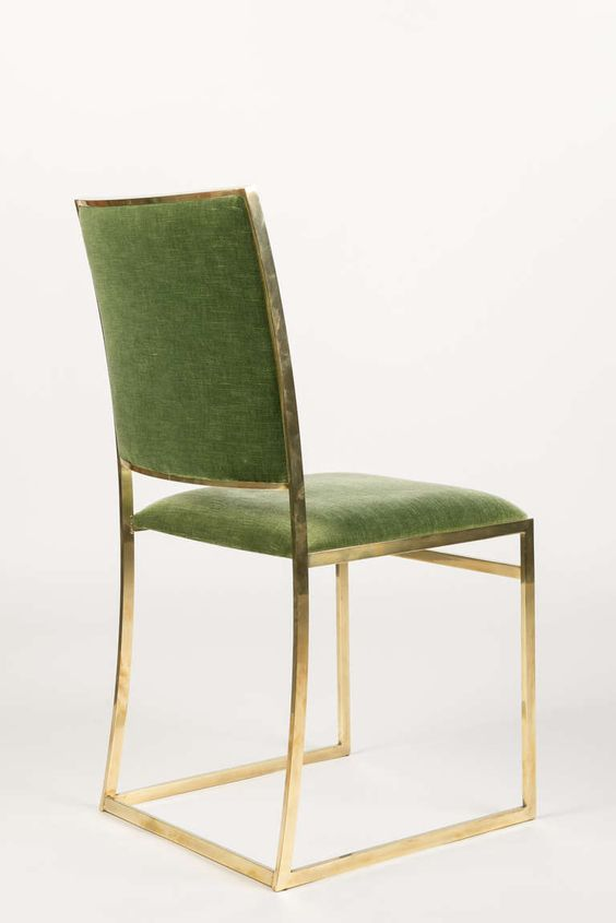 Six Italian Brass Dining Chairs in Style of Willy Rizzo | From a unique collection of antique and modern dining room chairs at http://www.1stdibs.com/furniture/seating/dining-room-chairs/