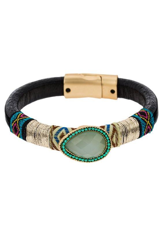 sweet deluxe AGNES - Armband - matt gold/black/green - Zalando.de