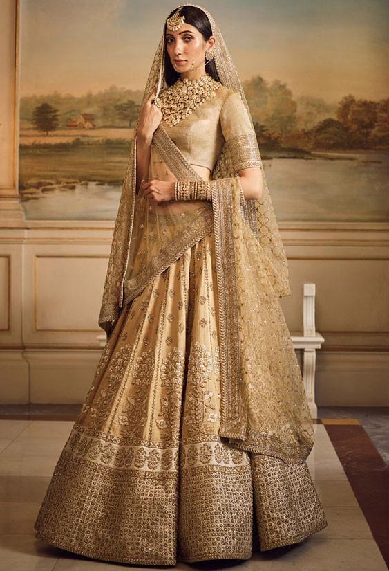 Sabyasachi Inspired Beige Bridal Lehenga Choli Sf9120 Indian