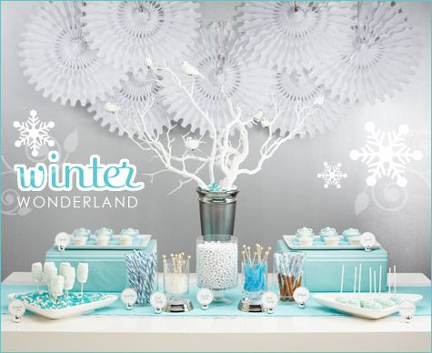Winter Wonderland dessert buffet.  Blue and white themed with snowflakes and candy!