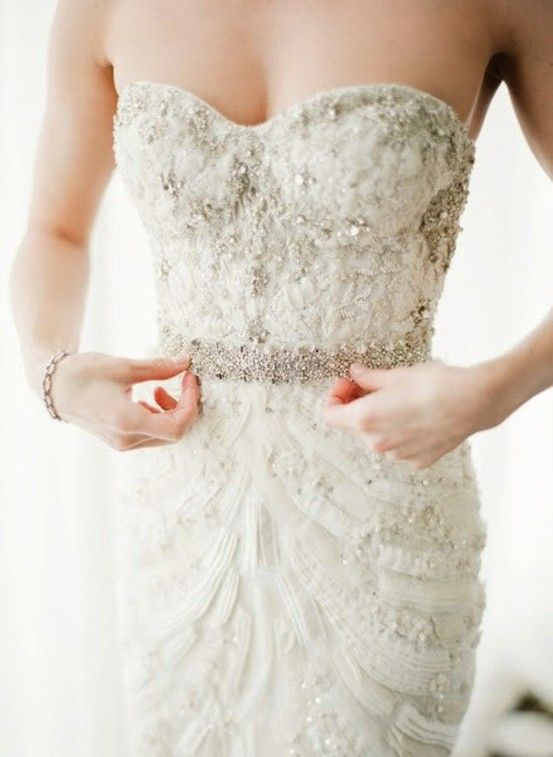 Lace and beads wedding gown