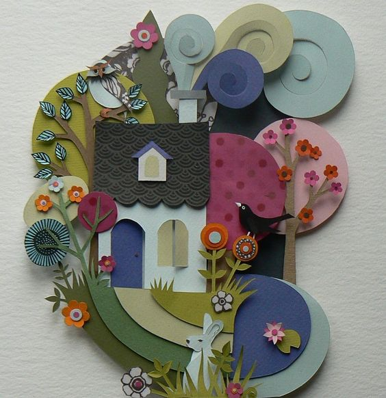 I found this paper amazing paper artist cutting beautiful scenes in colorful cardstock.