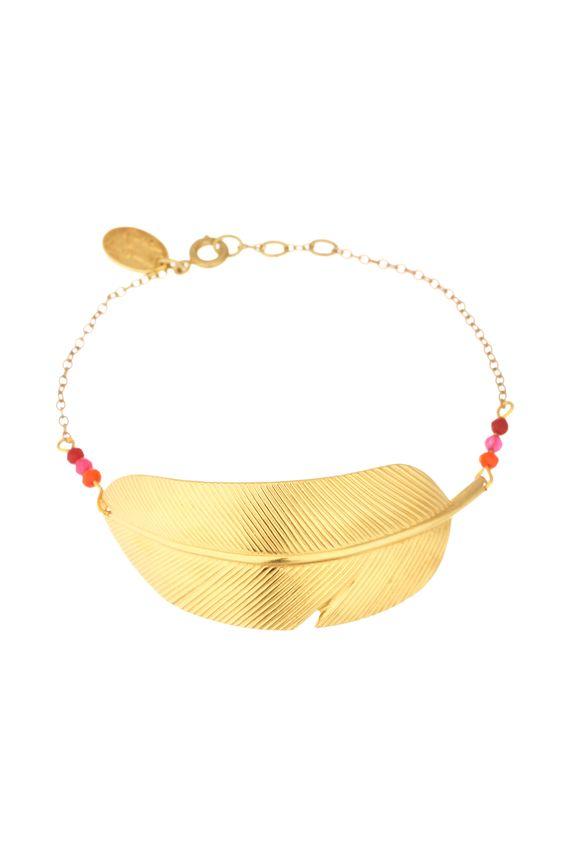 Bracelet plume et perles Tania Doré L'atelier Des Dames sur MonShowroom.com