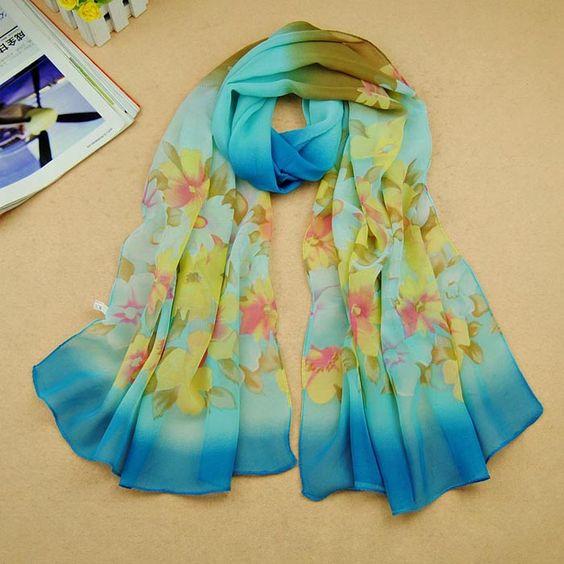 Women Gradual Change Floral Long Chiffon Wraps Shawl Soft Scarves