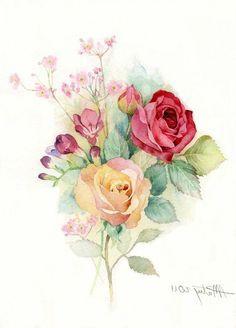 vintage watercolor flowers - Google Search