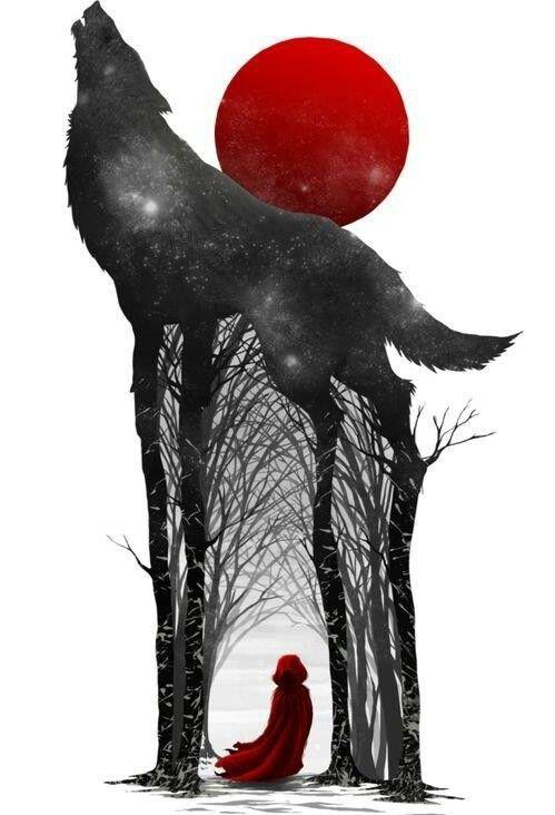 おしゃれでかっこいい赤ずきんと黒い犬の壁紙