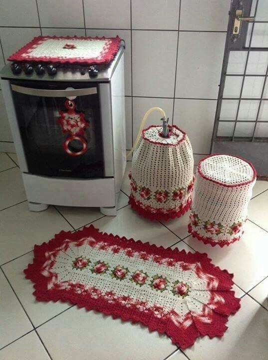 Juego de cocina adornos en crochet para cocina pinterest for Adornos para cocina