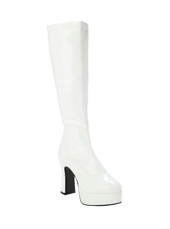 white patent gogo boots   Gogo boots, Fashion, Boots