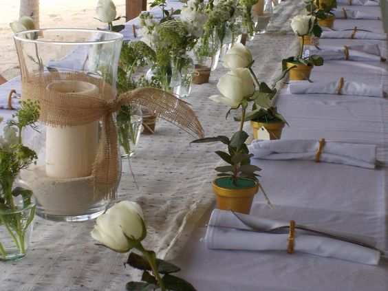 Place Settings - Love Candles and Fresh Flowers