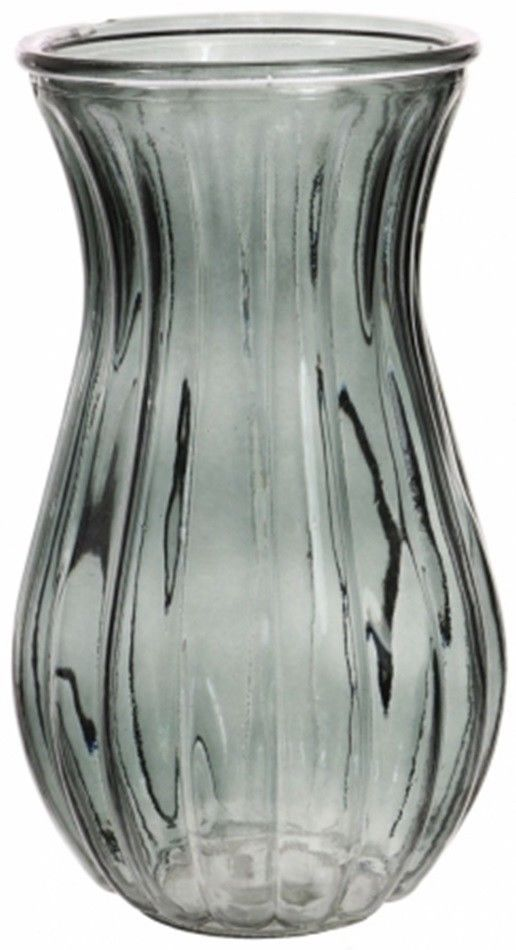 Black /& White Etched  Flower Vase With Yellow Inner Ornament 23cm