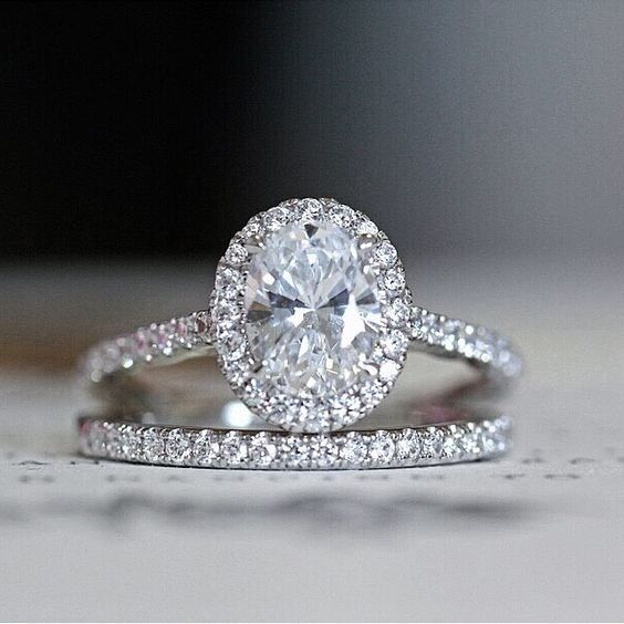 Certified 2 CT White Oval Cut Diamond 14k Solid Gold Engagement Bridal Ring Set