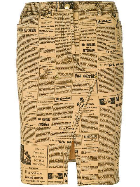 John Galliano Vintage Newspaper Theme Printed Skirt