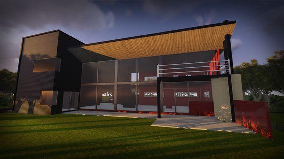 Nuevo estilo de vivienda con un estilo fabril, combinación de vidrio madera y metal. Estructura metálica liviana y versátil. Casa Countrie