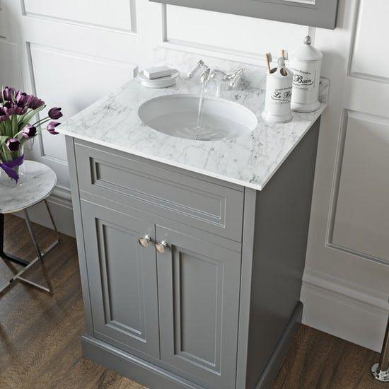 The Bath Co Chartham Slate Matt Grey Floorstanding Vanity Unit And White Marble Basin 600mm Vanity Units Bathroom Vanity Units Basin