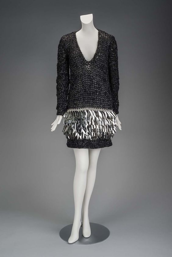 1960s, America - Dress - Synthetic yarn, hand-knit, applied plastic paillettes