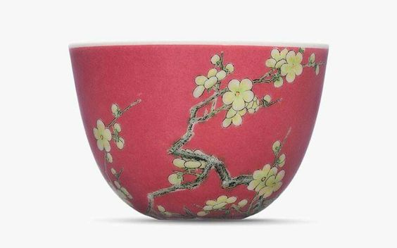 Potted in an imperial kiln, most likely over three centuries ago during the early Yongzheng period (1722-1735), there are only a handful of pieces in existence that are comparable to this falangcai cup.  The plum blossom was a popular motif in Chinese art and represents the five blessing of longevity, health, wealth, happiness and a peaceful death, while the green bamboo spray symbolises scholarly integrity and virtue http://ow.ly/WPnD306nbHI