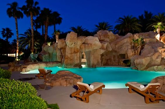 The Playboy Mansion pool & Grotto