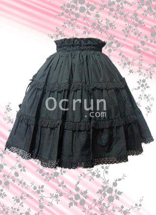 Gerührt Plissee Schnüren Baumwolle Lolita Röcke