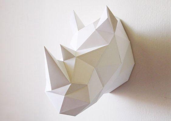 Trophee de chasse origami gratuit recherche google papier pinterest d - Trophee animaux carton ...
