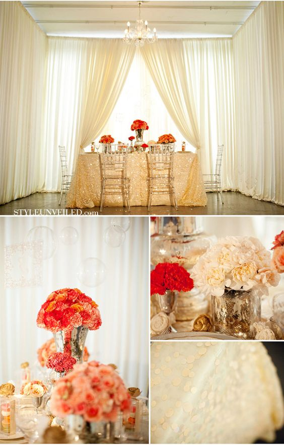 Sequined table cloth? YES, PLEASE!
