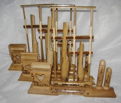 Mini Angklung Bamboo Instrument Unique Card & Pen Holder - Hand Made from Indonesia.    You can put your own name, family, friends, company, occupation, etc.    This is an unique and rare angklung. Many of angklung is just regular bamboo instrument or made for decorative or merchandise. And this anklung combine both function ;)