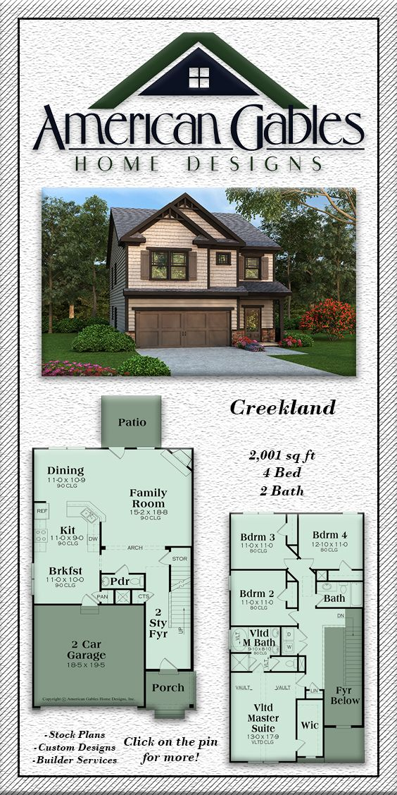Narrow Lot Plan 2001 Square Feet 4 Bedrooms 2 Bathrooms Creekland Narrow Lot House Plans Narrow House Plans Sims House Plans