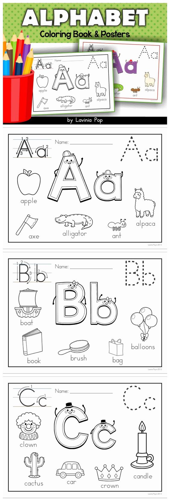 Alphabet Coloring Book and Posters. Includes extra pages for beginning long vowel sounds and soft C and G sounds.