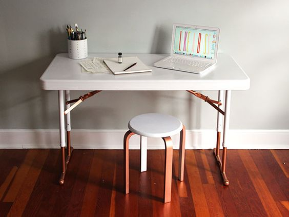 Upcycle a Plastic Folding Table Into a Chic Desk