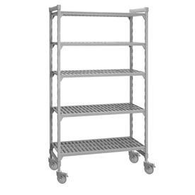 """Cambro Premium Mobile Shelf Truck - 4 Vented Shelves 24x36x75 by CAMBRO MANUFACTURNG COMP. $546.00. Cambro Premium Mobile Shelf Truck - 4 Vented Shelves 24x36x75 This Mobile Plastic Shelving features 5"""" premium line casters made with a zinc plated post and non-marking polyurethane wheel. Recommended for use in wet areas or in walk-in refrigerators and freezers. Plastic shelving utilizes ion-technology that inhibits growth of mold, fungus & bacteria. Mobile plastic sh..."""
