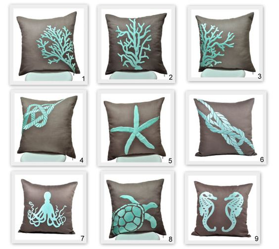 Nautical Pillow Covers, 18 x 18 Throw Pillow Covers - set of 2, Taupe Brown Pillow Turquoise Nautical Embroidery, CHOOSE THE DESIGN