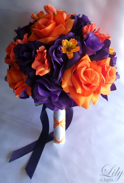 Purple and Orange Wedding Flowers | Details about 17pieces Wedding Bridal Bouquet Flowers ORANGE PURPLE ...
