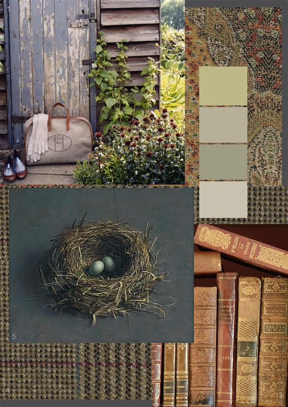 books and nest, paisley and tweed