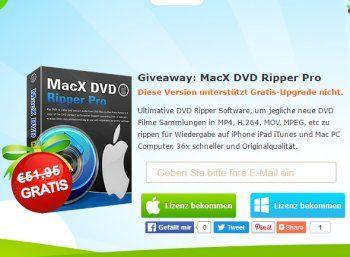 """Exklusiv: """"MacX DVD Ripper Pro"""" im Wert von 52 Euro komplett gratis https://www.discountfan.de/artikel/c_gratis-angebot/exklusiv-macx-dvd-ripper-pro-im-wert-von-52-euro-komplett-gratis.php Ab sofort und nur für zehn Tage gibt es das Programm """"MacX DVD Ripper Pro"""" zum Rippen von DVDs im Wert von 51,95 Euro komplett gratis. Verfügbar ist das Tool für Windows und Mac. Exklusiv: """"MacX DVD Ripper Pro"""" im Wert von 52 Euro komplett gratis (Bild: Macxdvd."""