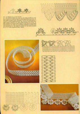 Falando de Crochet - Gráficos: BARRAS E BARRINHAS (CROCHET EDGING)