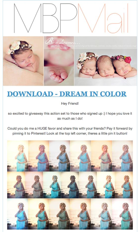 FREE DOWNLOAD   Dream in Color Action Set  from modern baby photography    Pay it forward and re-pin or share with your friends!