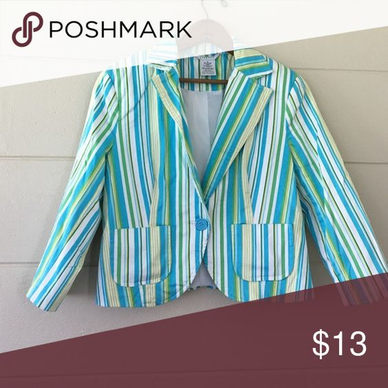 Striped blazer Green, white, yellow, and blue striped blazer size 10 with shoulder padding 97% cotton 3% spandex lining: 97% polyester 3% spandex Jackets & Coats Blazers