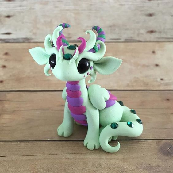So curly  #dragonsandbeasties #dragon #claydragon #Premo #sculpey #clay #sculpture #cute #mintgreen