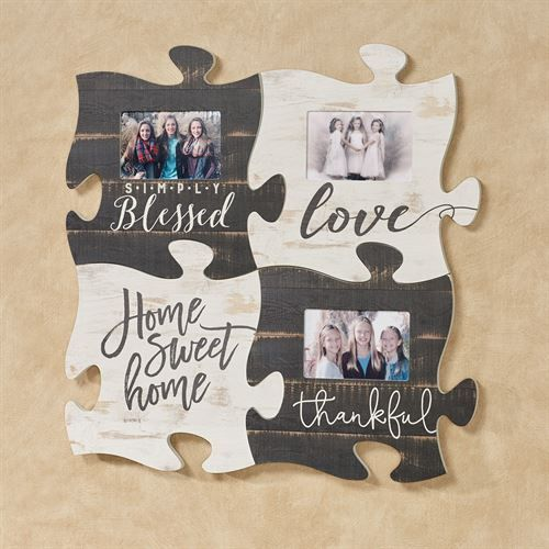 Home Sweet Home Quote Puzzle Piece Weathered White Puzzle Piece Crafts Puzzle Crafts Photo Frame Decoration