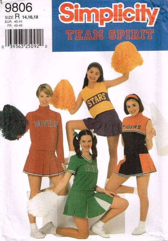 9806 Sewing Pattern Team Spirit Ladies Cheerleader Costume 14 16 18