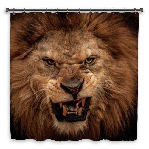 Close Up Shot Of Roaring Lion Custom Size Shower Curtain