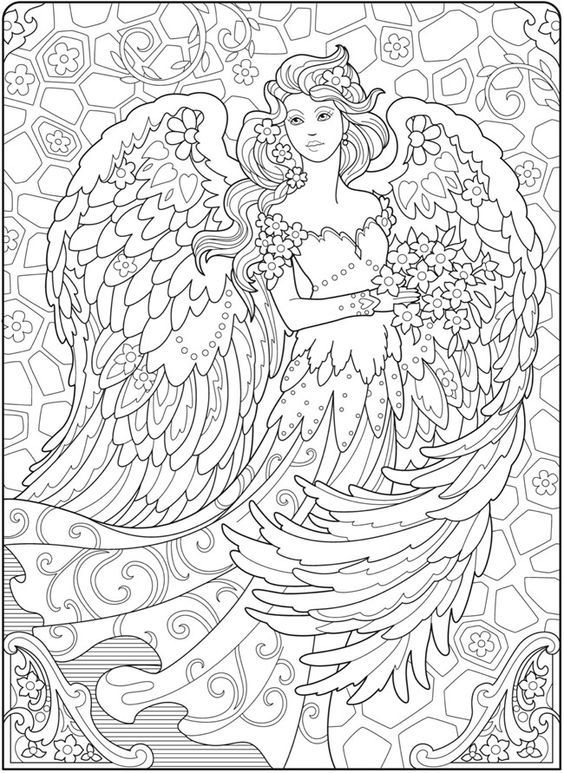 Welcome To Dover Publications Ch Beautiful Angels Fairy Coloring Pages Angel Coloring Pages Coloring Books