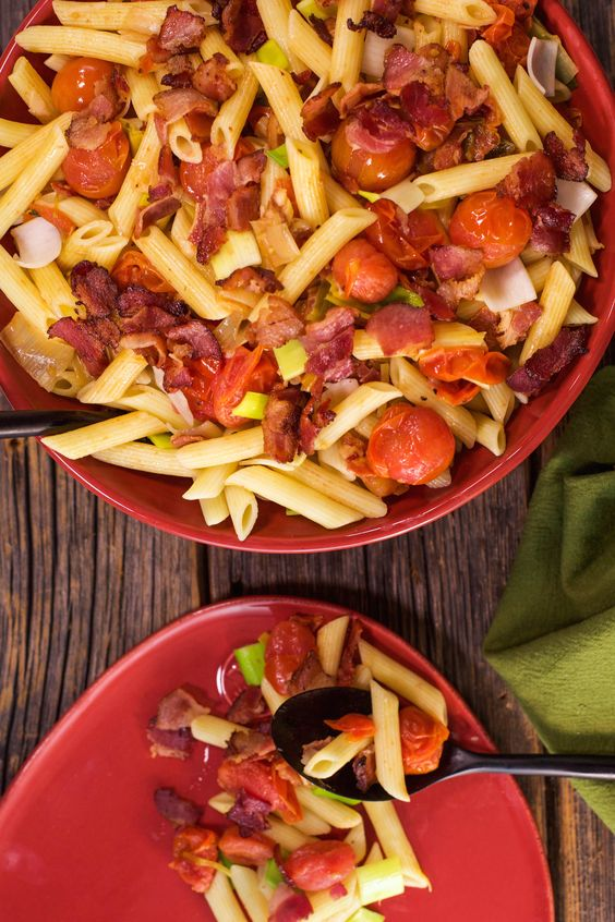 bacon leeks bacon bacon and more bacon dishes penne simple tomatoes ...