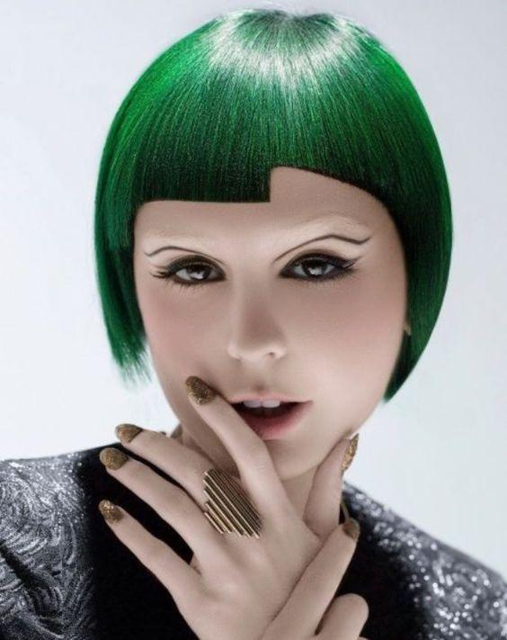 Green geometric hair