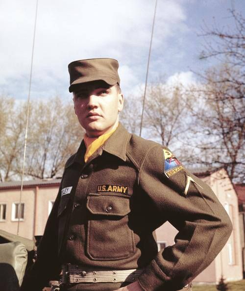 April 12, 1959, Ray Barracks, Friedberg, Germany  Open House at Ray Barracks. Elvis' job was to drive visitors around in a jeep. One of the visitors that day was Vernon Presley.