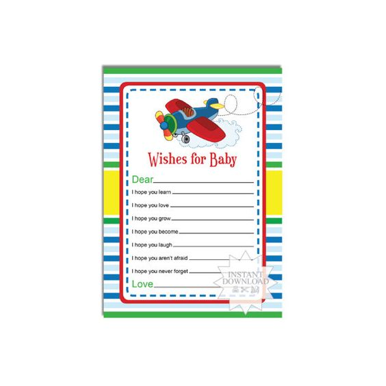 Airplane Wishes for Baby Card-Well Wishes by AllbyWanda on Etsy