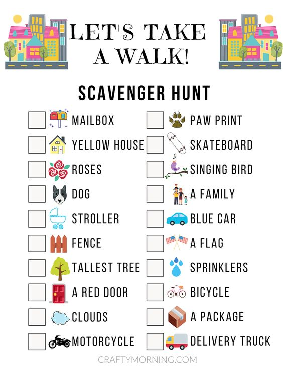 Neighborhood Scavenger Hunt Game Printable Sheet- great kids activity to get some fresh air outside! Perfect for coronavirus quarantine social distancing game.