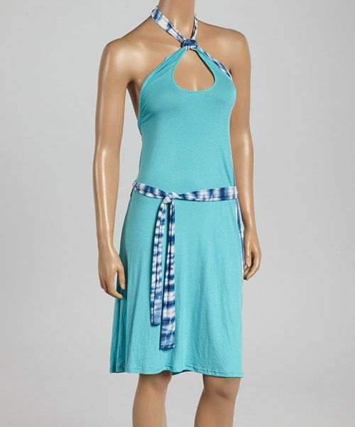 Take a look at the Blue Cutout Halter Dress on #zulily today!